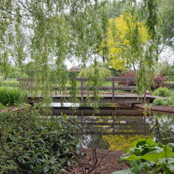 mooie tuin vijverbrug