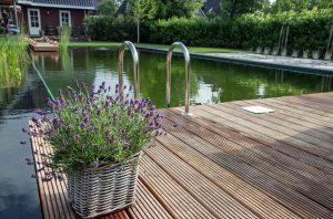 prachtige tuin met zwemvijver